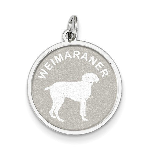 Sterling Silver Weimaraner Disc Charm