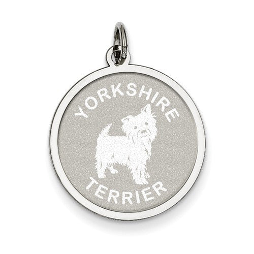 Sterling Silver Yorkshire Terrier Disc Charm