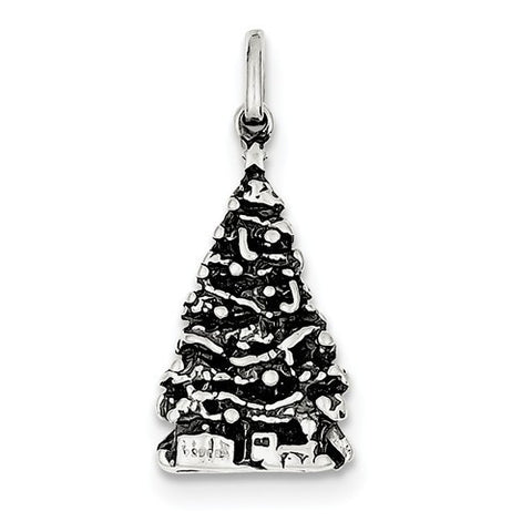 Sterling Silver Antiqued Christmas Tree Charm
