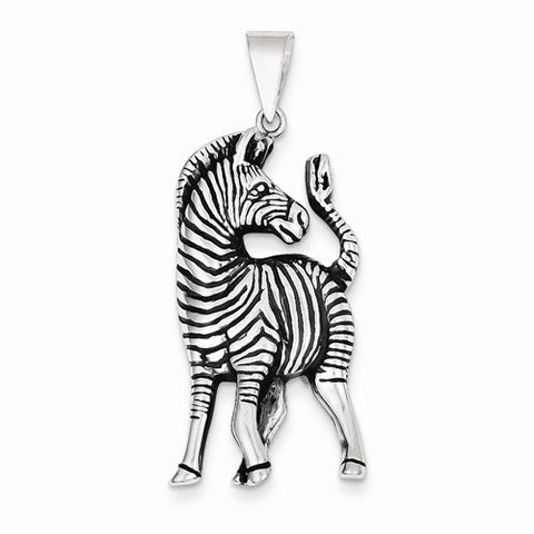 Sterling Silver Antiqued Zebra Pendant