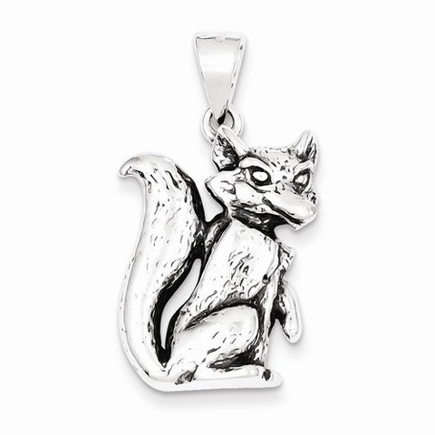 Sterling Silver Antiqued Fox Charm