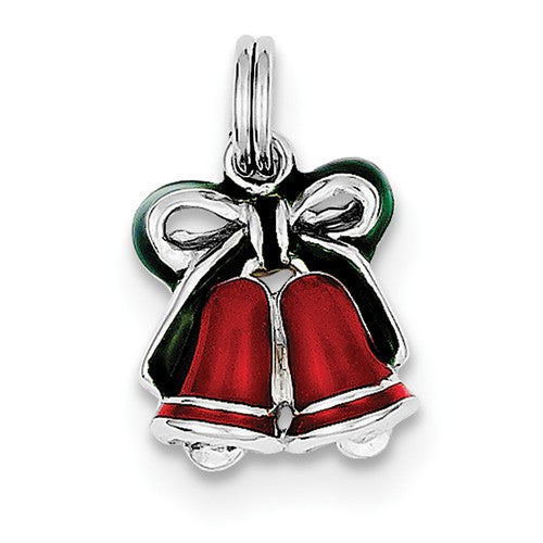 Sterling Silver Rhodium-Plated Enamel Bells Charm