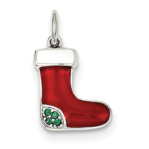 Sterling Silver Enameled & Swarovski Elements Stocking Charm