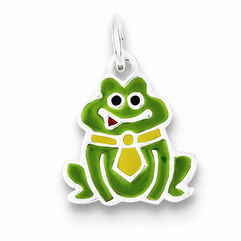 Sterling Silver Enameled Frog Charm