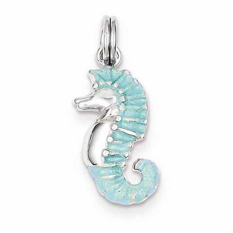 Sterling Silver W/ Green Glitter Seahorse Charm