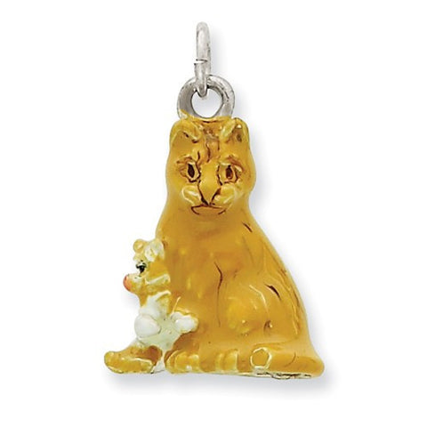 Silver Enamel Mom & Kitten Cat Charm