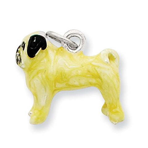 Sterling Silver Enameled Fawn Pug Charm