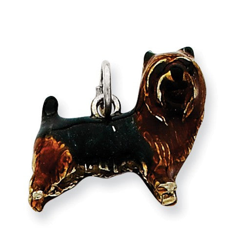Sterling Silver Enameled Brown & Black Cairn Terrier Charm