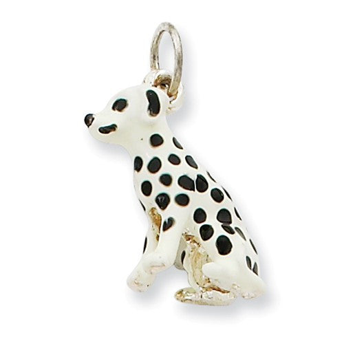 Sterling Silver Enameled Dalmatian Charm