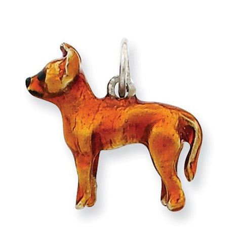 Sterling Silver Enameled Full Chihuahua Charm