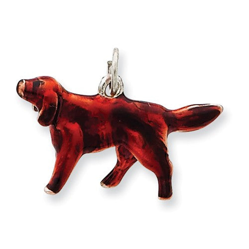 Sterling Silver Enameled Small Irish Setter Charm