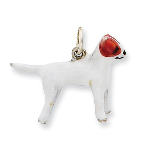 Sterling Silver Enameled Jack Russell Charm