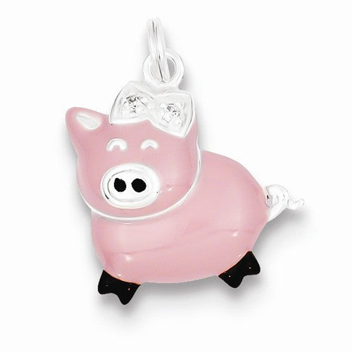 Sterling Silver CZ Pink Enameled Polished Pig Charm