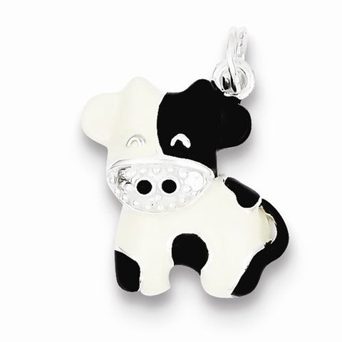 Sterling Silver CZ Brown & White Enameled Polished Cow Charm / Pendant