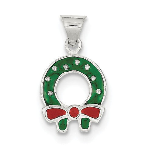 Sterling Silver Enameled Christmas Wreath Charm