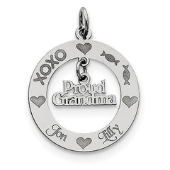 Sterling Silver Personalizable Proud Grandma Charm
