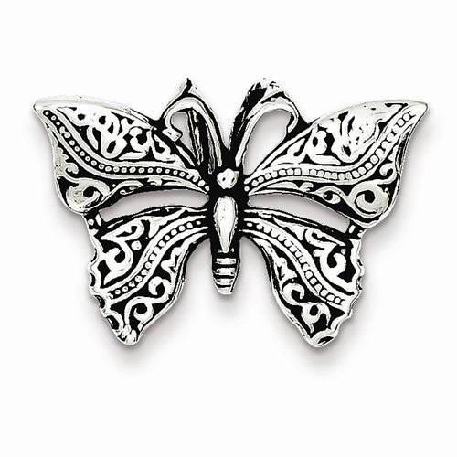Sterling Silver Antiqued Butterfly Slide