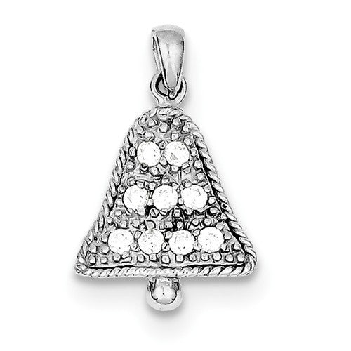 Sterling Silver CZ Bell Pendant