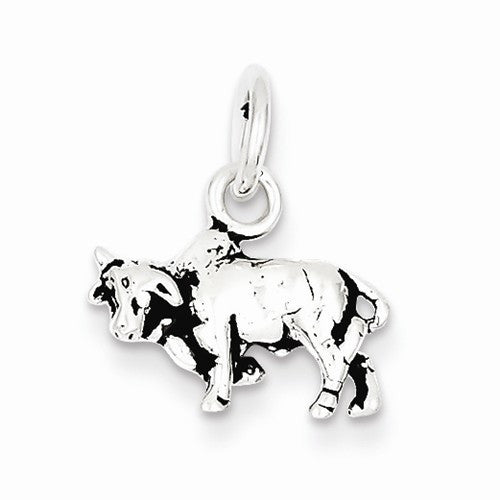 Sterling Silver Antiqued Bull Charm / Pendant