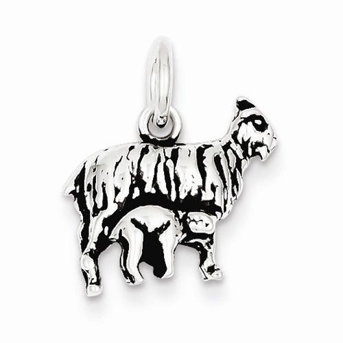 Sterling Silver Antiqued Goat Charm / Pendant