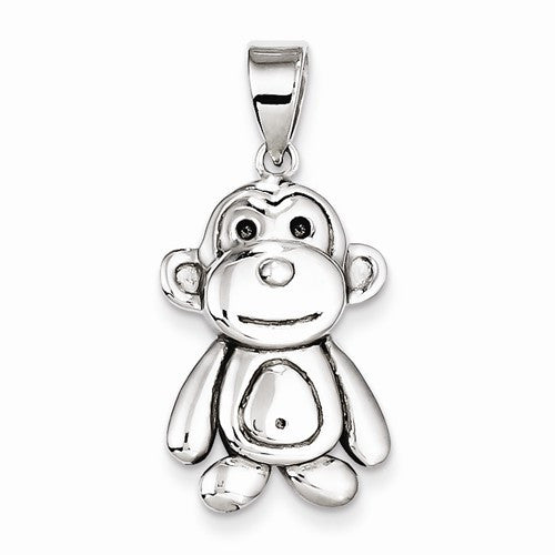 Sterling Silver Polished Monkey Pendant