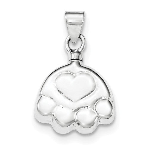 Sterling Silver Polished Puppy Paw Ash Holder Pendant