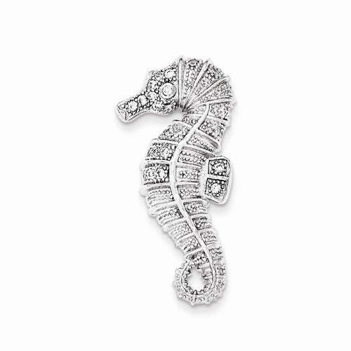 Sterling Silver CZ Seahorse Pendant
