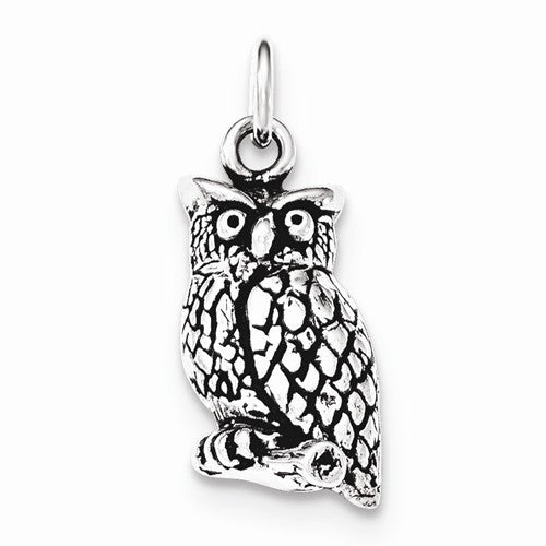 Sterling Silver Antiqued & Textured Perched Owl Pendant