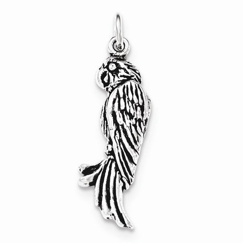 Sterling Silver Antiqued Parrot Pendant