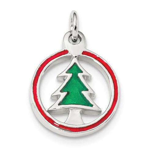Sterling Silver Rhodium-Plated Enameled Christmas Tree Circle Charm