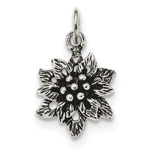 Sterling Silver Antiqued Flower Pendant
