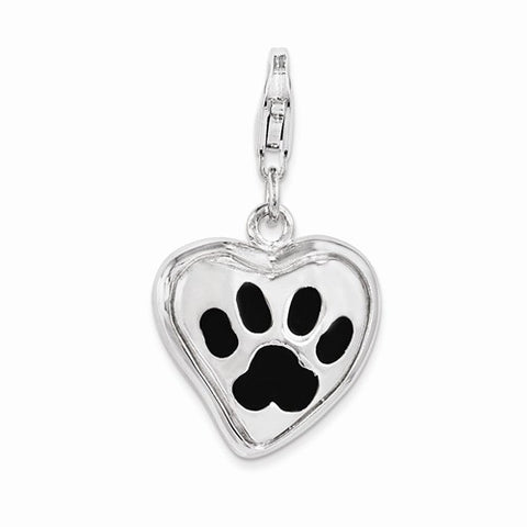 Sterling Silver Polished And Enameled Heart With Dog Paw Print Charm
