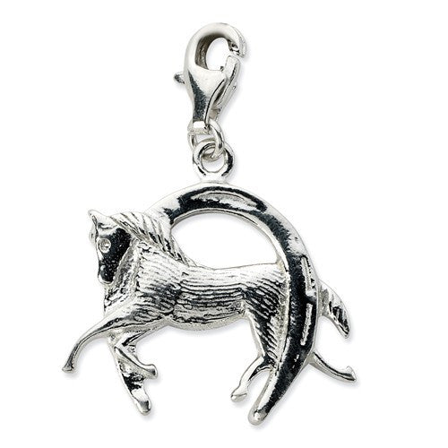Sterling Silver Horse And Shoe W/Lobster Clasp Charm