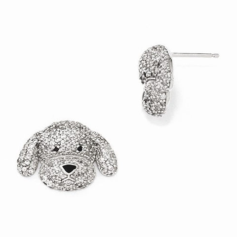Sterling Silver Enameled CZ Puppy Post Earrings