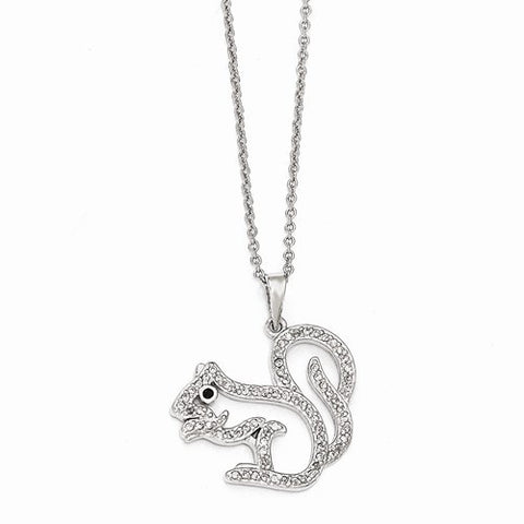 Sterling Silver Black & White CZ Squirrel 18in. Necklace