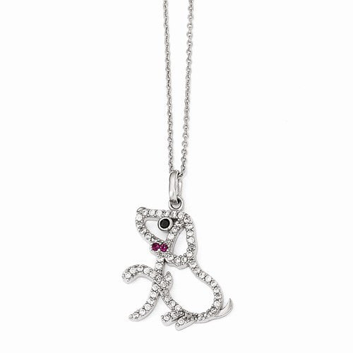 Sterling Silver Black/White CZ and Synthetic Ruby Puppy Necklace