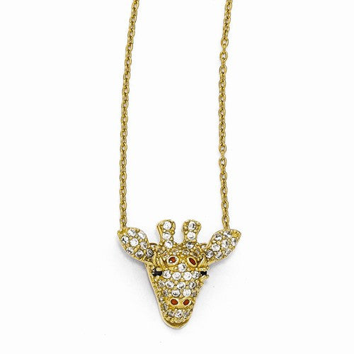 Sterling Silver Gold-Plated CZ Enameled Giraffe 18in Necklace