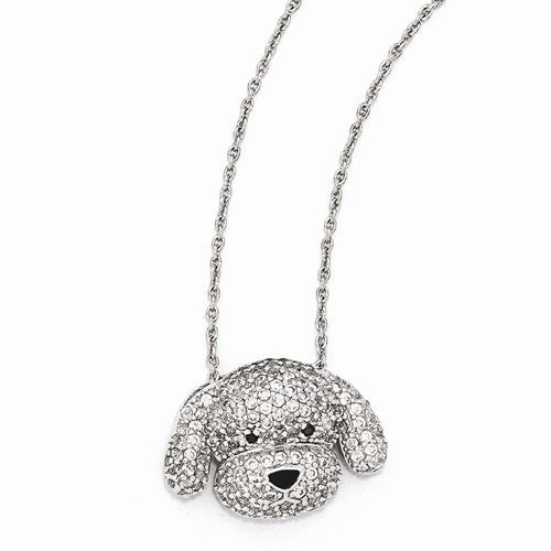 Sterling Silver Black and White CZ Enameled Puppy 18in Necklace