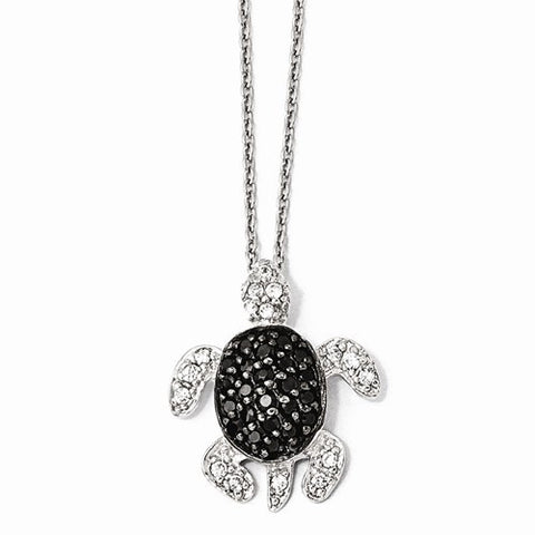 Sterling Silver Black And White CZ Turtle Necklace