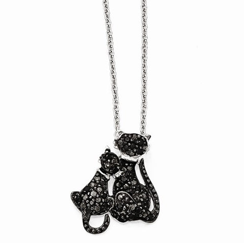 Sterling Silver CZ & Rhodium Cats 18in. Necklace