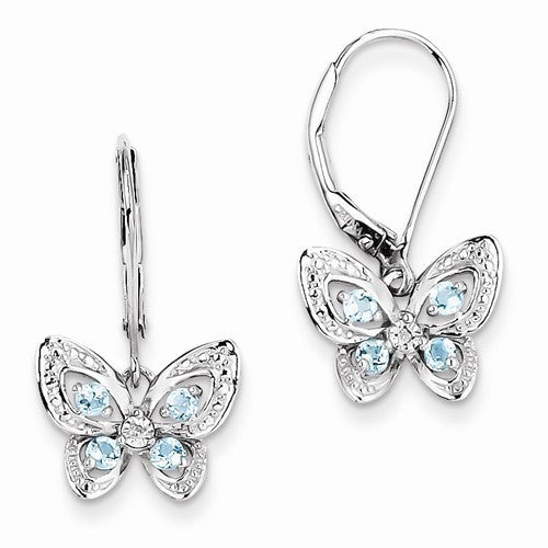 Sterling Silver Blue Topaz & Diamond Butterfly Earrings