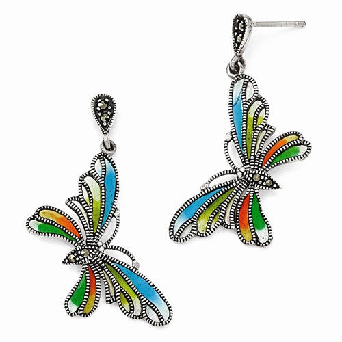 Sterling Silver Multi Color Butterfly Earrings