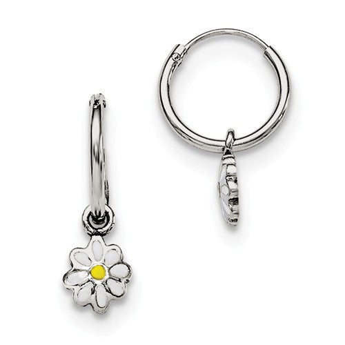 Sterling Silver RH Plated Child's Enameled Daisy Hinged Hoop Earrings