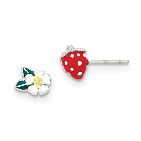 Sterling Silver Enamel Kid's Flower And Strawberry Post Earrings