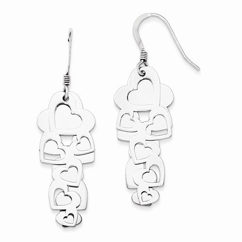 Sterling Silver Polished Hearts Cut-Out Heart Dangle Earring