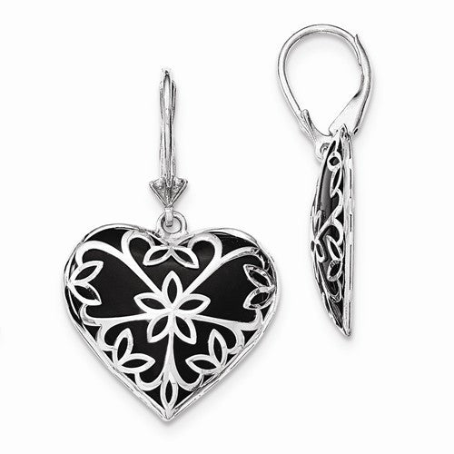 Sterling Silver Onyx Heart Earrings