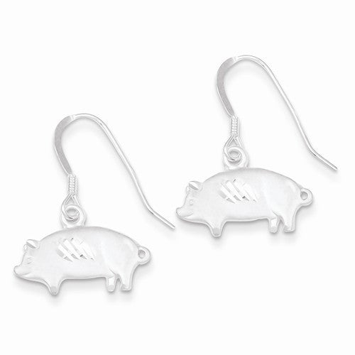Sterling Silver Satin Pig Earrings