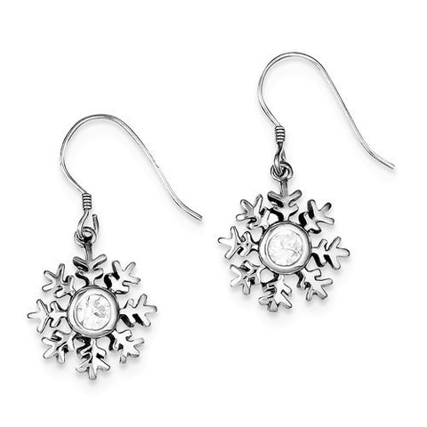 Sterling Silver CZ Snowflake Dangle Earrings