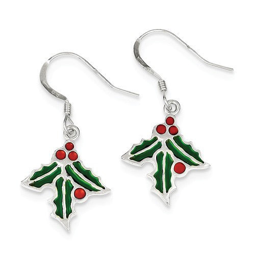 Sterling Silver Holly Enameled Earrings