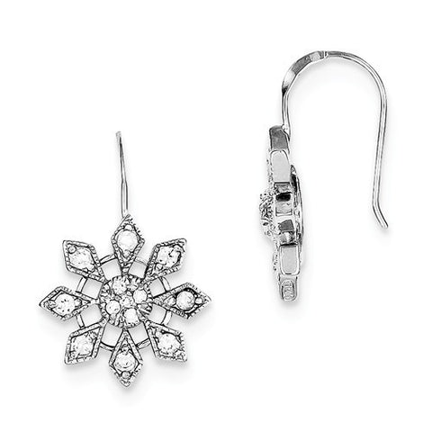 Sterling Silver CZ Snowflake Earrings
